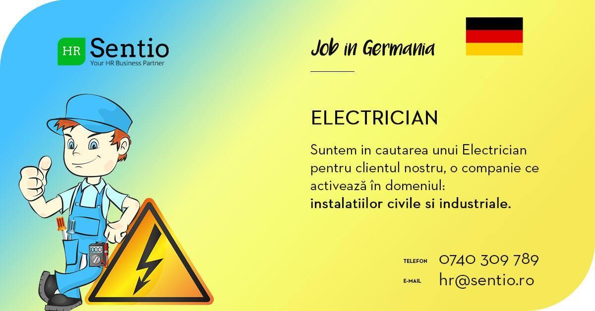 Recrutăm Electrician pentru instalații civile și industriale în Germania